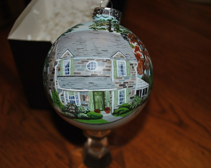 Custom Home Ornament, House Ornament, Hand Painted glass ornament, Hand Painted Home Ornament, sorry sold