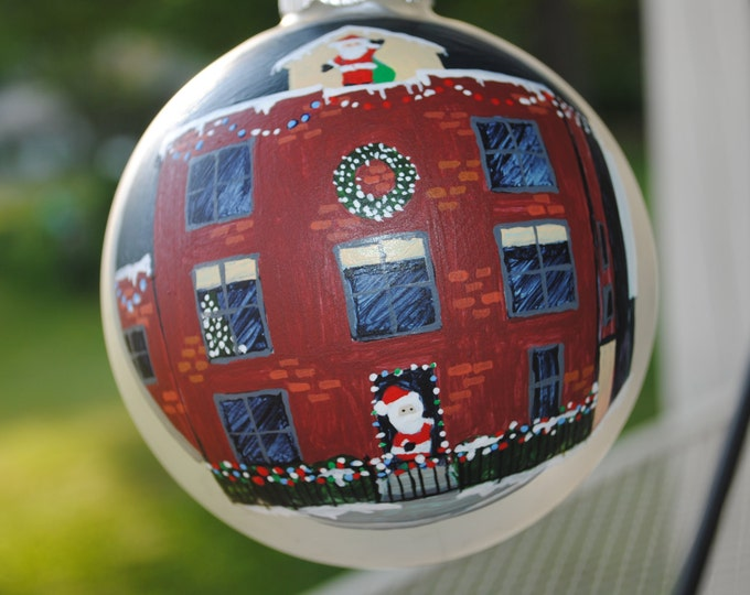 "Custom Home hand painted ornament "" Christmas Magic on Benjamin Street""   - sold"