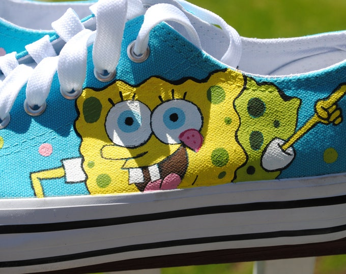 For Sale New Sponge Bob and Patrick Hand Painted teal sneakers size us9, uk 7 or 40 Euro size.