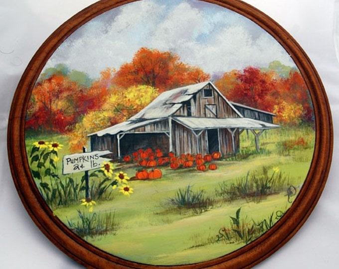 Hand painted Antique Round Cutting Board w/Autumn Pumpkin for sale scene