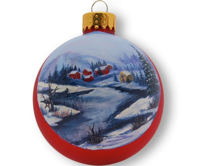 Red Glass Ornament Hand Painted Village Winter Scene Near Stream