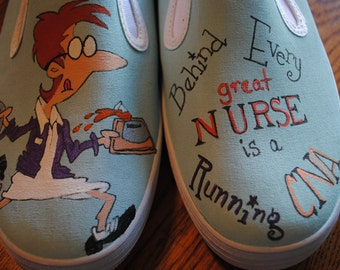 "For Sale Heeeyyy Nurses or CNA's just finished these shoes for you, ""Behind Every Great NURSE is a Running CNA"" Womens size 8.5 Ready 2 ship"