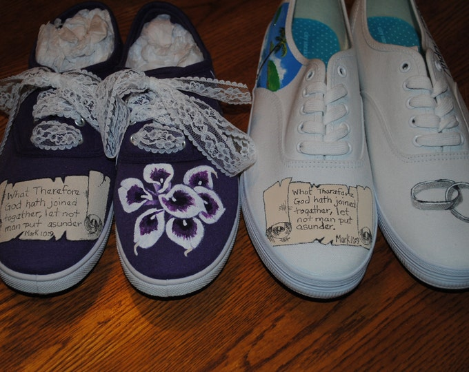 New design His and Hers Weddding shoes. with kjv  Mark 10:9 size 8 hers size 9 mens for him --- sorry sold