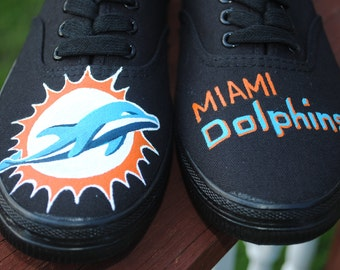 Custom Hand Painted Sneakers black lace ups size 7 with Miami Dolphins new logo -  Sold