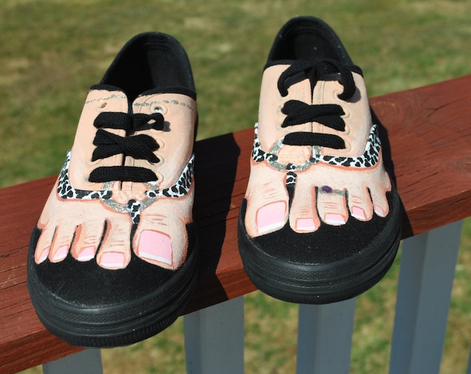 SOLD  Cute and Funny Black hand painted sneakers size 7 1/2 with cute little feet toe ring and anklet