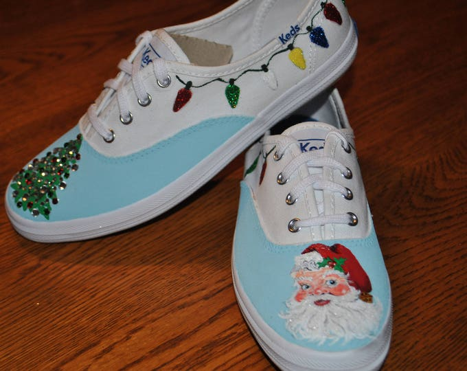 Have a Holly Jolly Christmas time, Santa and Christmas tree with Bling - sold