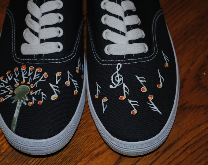 Dandelion Shoe with Musical notes custom hand painted sneakers - sold note these are only samples