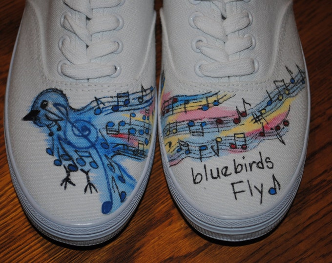 Bluebirds Fly over the Rainbow Shoes custom order - sold note this is just a sample