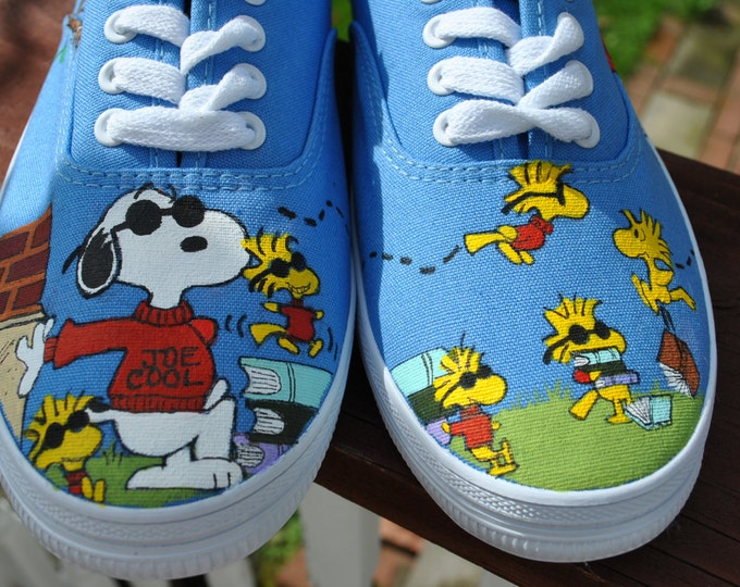 Cute and Funny Hand Painted Snoopy and Woodstock sneakers size 8.5 -sold