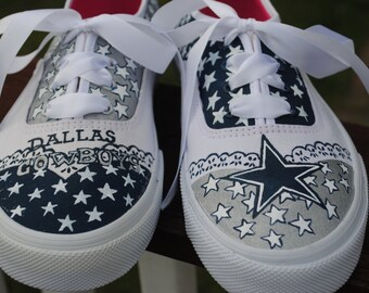 Custom Hand Painted Dallas Cowboys sneakers super cute size 10 with satin laces - sorry sold