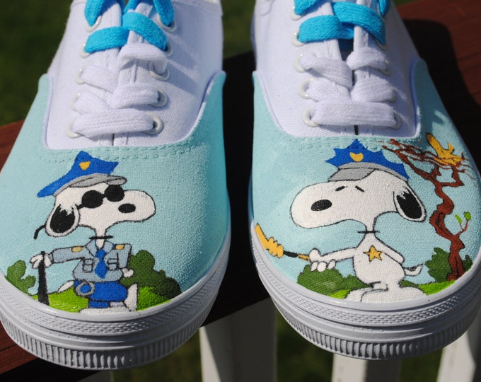 New Snoopy the police officer Hand Painted Sneakers - sold