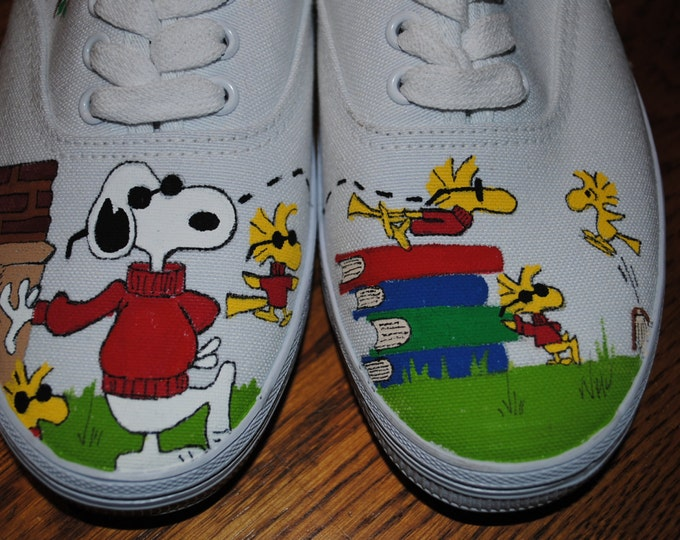 For Sale just finished painting Joe Cool and Woodstock friends size 8 womens shoe READY TO SHIP
