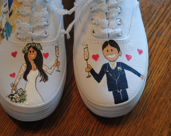 New Wedding Design Sneakers Wedding in Wonderful Santorini Greece  size 8 sold- note this is only for display