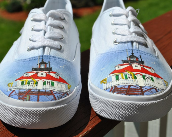 These are a sample of Custom Hand Painted Sneakers Thomas Pointe Lighthouse.  sold
