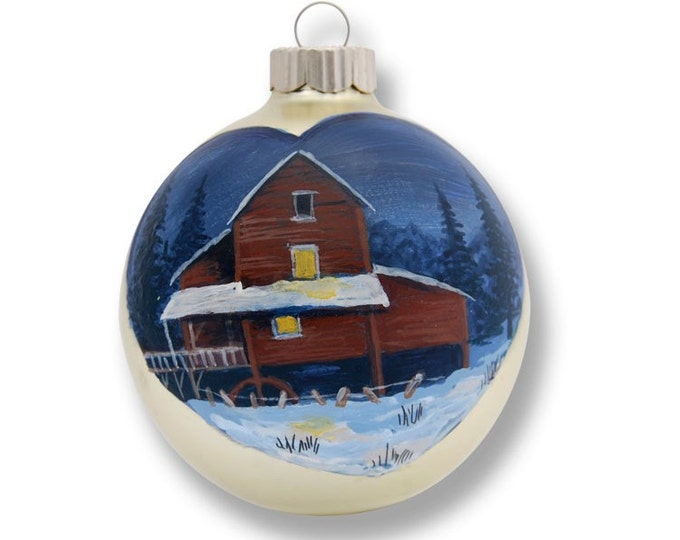 Old Saw Mill painted on heart white ornament