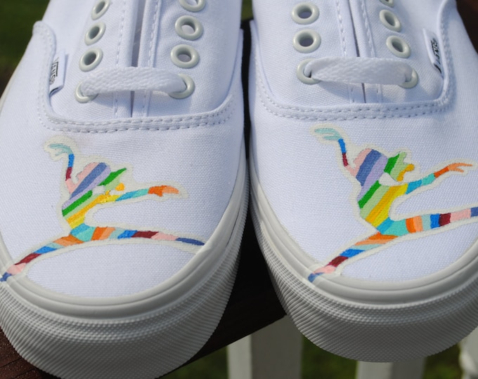 """Custom Hand Painted Sneakers Colorful Dancing womens Vans with """" I hope you dance"""" on sides."""