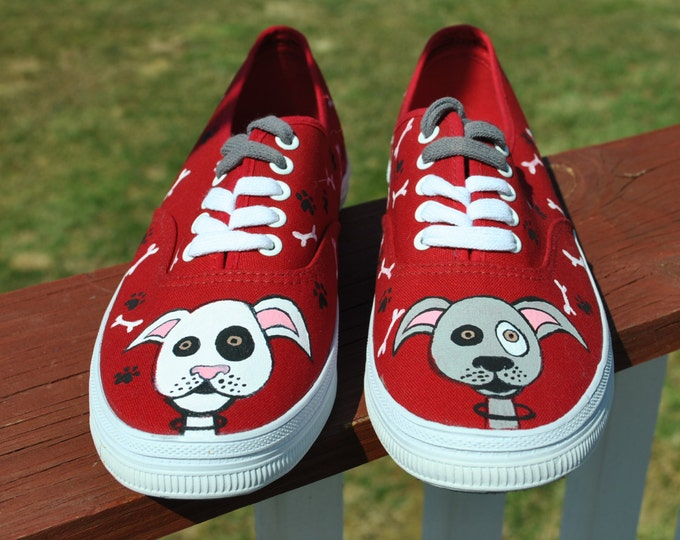 Dog lovers hand painted sneakers size 8- SOLD