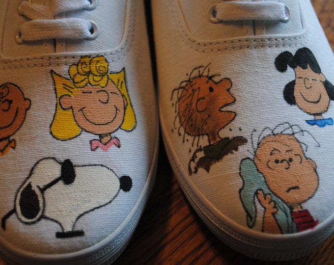 Just finished painted Peanuts and the gang size 10 hand painted womens sneakers -SOLD  Just for display