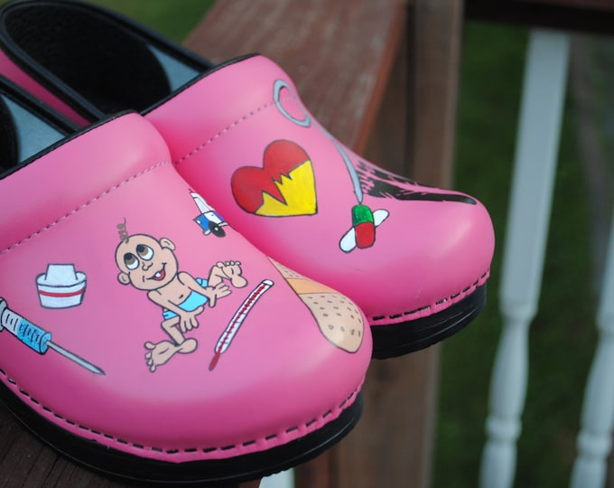 New Custom Hand Painted Pink Dansko size 38 For Pediatric nurses shoes  --- sorry sold customer supplied the shoes