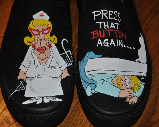 New Fun Hand Painted Design for You Beautiful Nurses I love you... size 9.5 SOLD