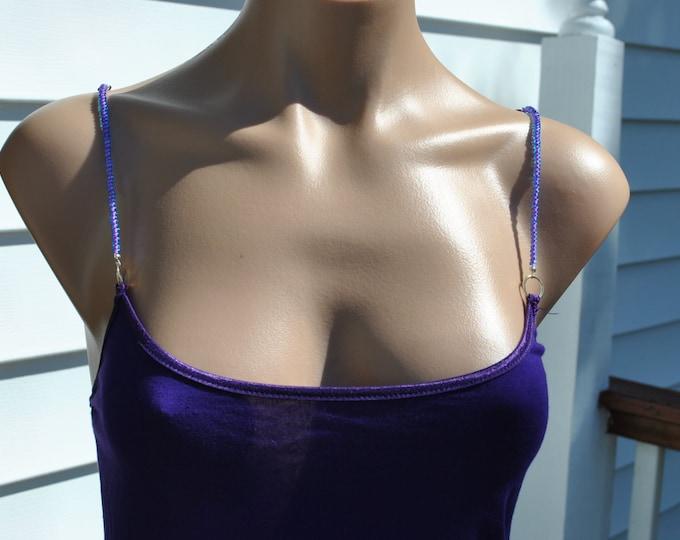Dark Purple Cami size med, hand beaded purple beads