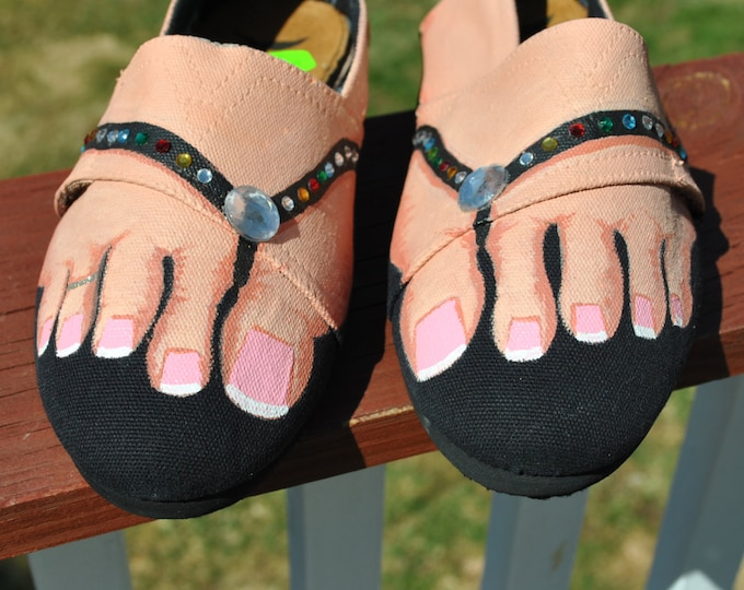 For Sale Unique Hand Painted Sneakers size 8 painted with feet in sandals with toe ring  ready to ship