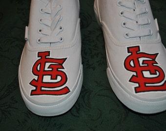 Custom Order of Saint Louis Cardinals painted on Punkrose sneakers - sold