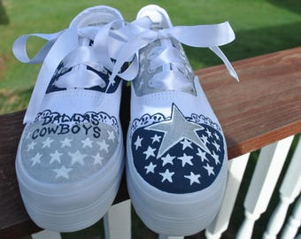 FOR SALE - Custom Hand Painted Dallas Cowboys size 7 platform sneakers -  For Sale  Ready to ship