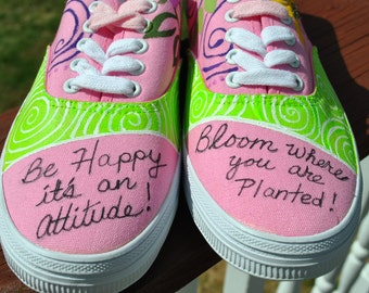 For Sale Christian sneakers with the BE HAPPY attitudes hand panted size 7.5  READY to ship