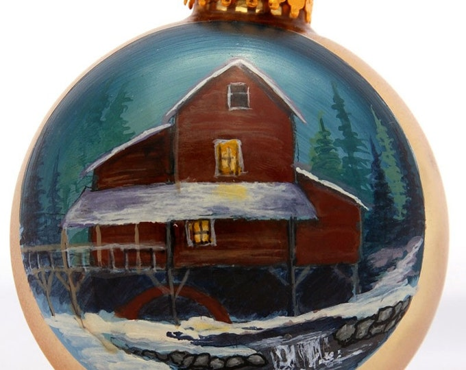 Hand Painted Big Red Mill w/ pond