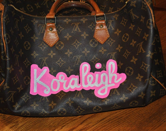 Custom Hand Painted LV bag with childrens names on it.. sold customer provided the bag