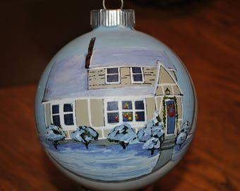 New Christmas Ornament of Our Home with snow and christmas decorations