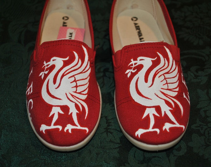 Custom Pair of Hand Painted shoes for Liverpool Football Club -sold