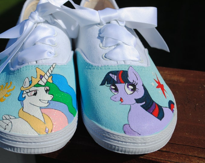 Childrens Hand Painted sneakers My Little Pony princess Celestia, and Twilight sparkle size 13-- sorry sold