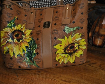 Custom MCM Bag and Pouch Sunflowers and pretty flowers sorry sold  just a sample of what can be done customer supplied the purse