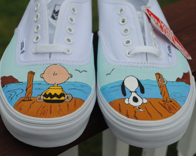 New Design Custom Hand Painted Mens Vans shoe  Charlie Brown and Snoopy size 10.5- sold