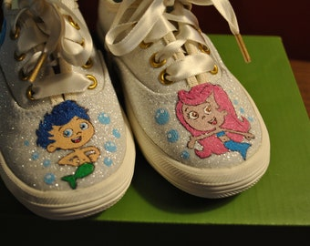 Bubble Guppies Toddler Shoes Hand Panited Toddler shoes .... sorry sold  ..... you must know the childs size or send me the shoes to paint