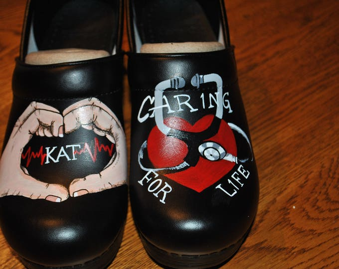 New custom hand painted nurses dansko with hospital name KAT  - sold * note shoes included in price