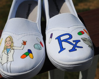 Custom Hand Painted size 7 white grasshoppers painted with Pharmacy theme -  sorry sold