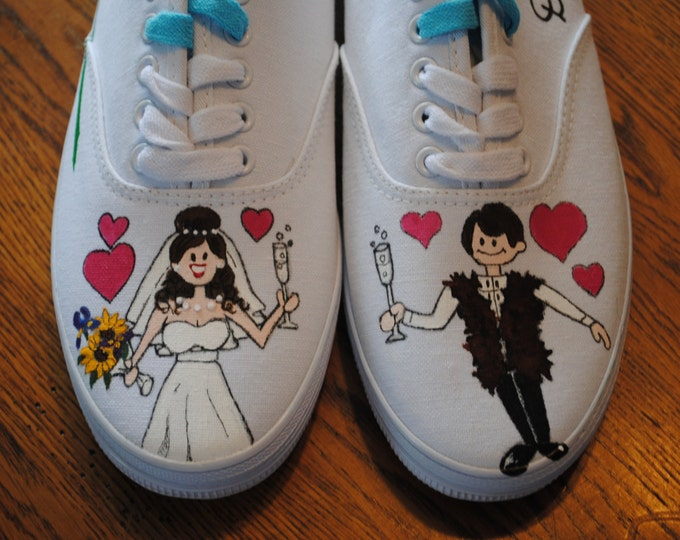 Hand Painted Wedding Sneakers size 9.5 - personalized - sample this item is sold