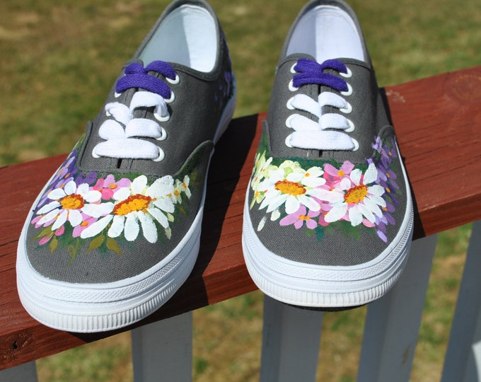 for sale Hand Painted sneakers size 7 1/2 with daisies and flowers  READY TO SHIP