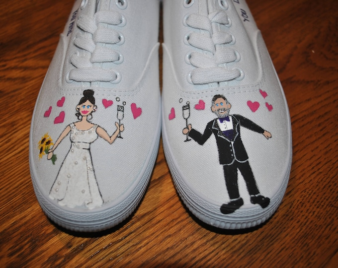 "Custom Hand Painted Wedding Sneakers ""Really wanna make you mine""   - Sold"