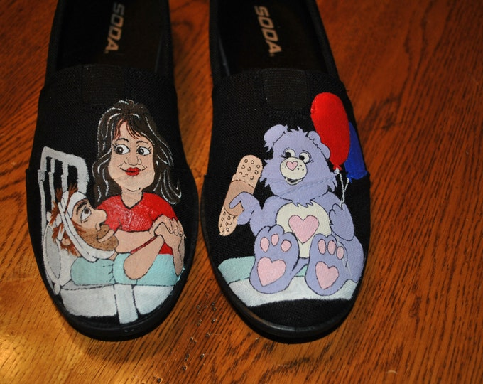 This is an Example of a custom shoe I did for a friend she wanted to give her  CNA friend  nickname carebear  a gift - sold