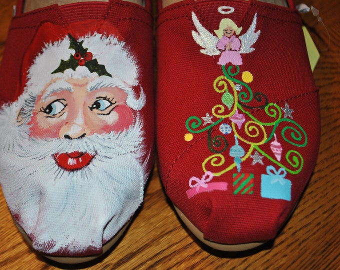 New Custom Hand Painted Christmas shoes  size 10 - sold just for display