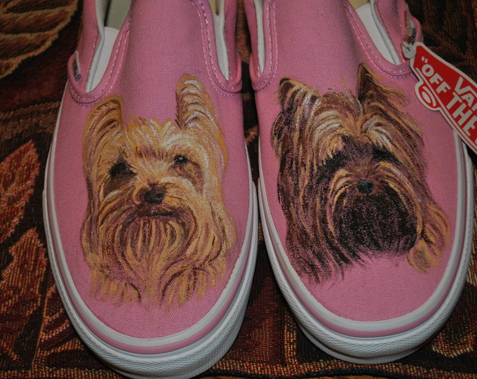 New Custom Hand Painted Doggie vans Shoes.... Aren't this Yorkies cute... sold