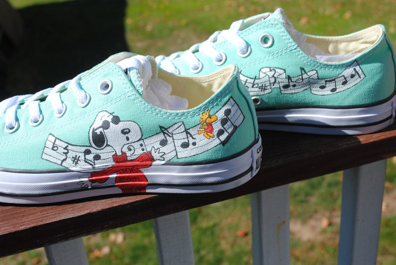 Hand Painted Snoopy and Joe Cool Musical Converse  b9da5bb4a