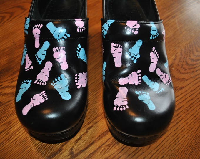New Custom Hand Painted NICU Dansko with baby feet....customer provided the shoes -  sold