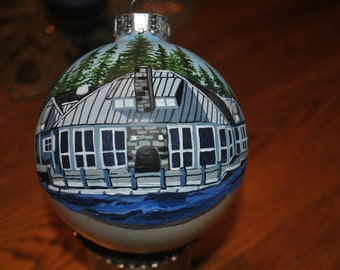 Custom Hand Painted Memories Ornament Boathouse of Roaring Gap NC  sorry sold