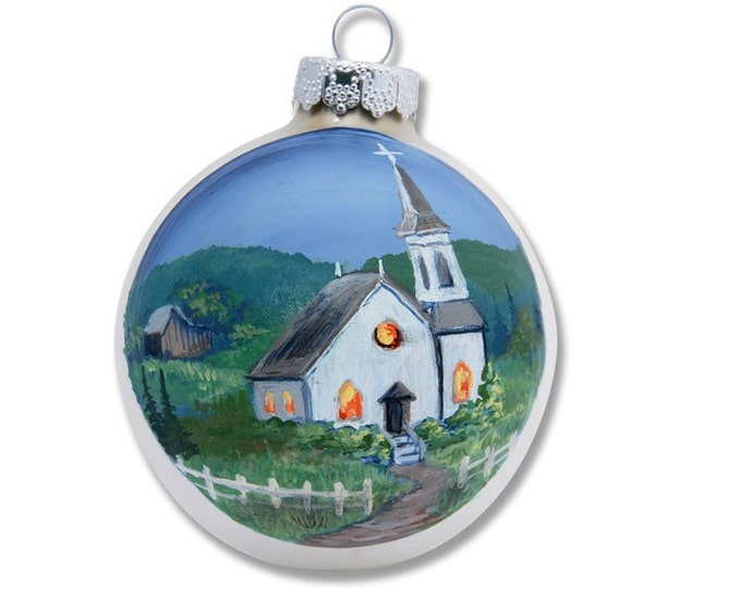 Church in the Valley on Silver Christmas ball