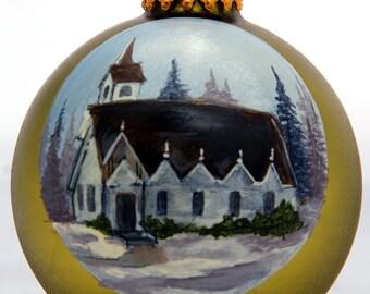 Handpainted Country White Church